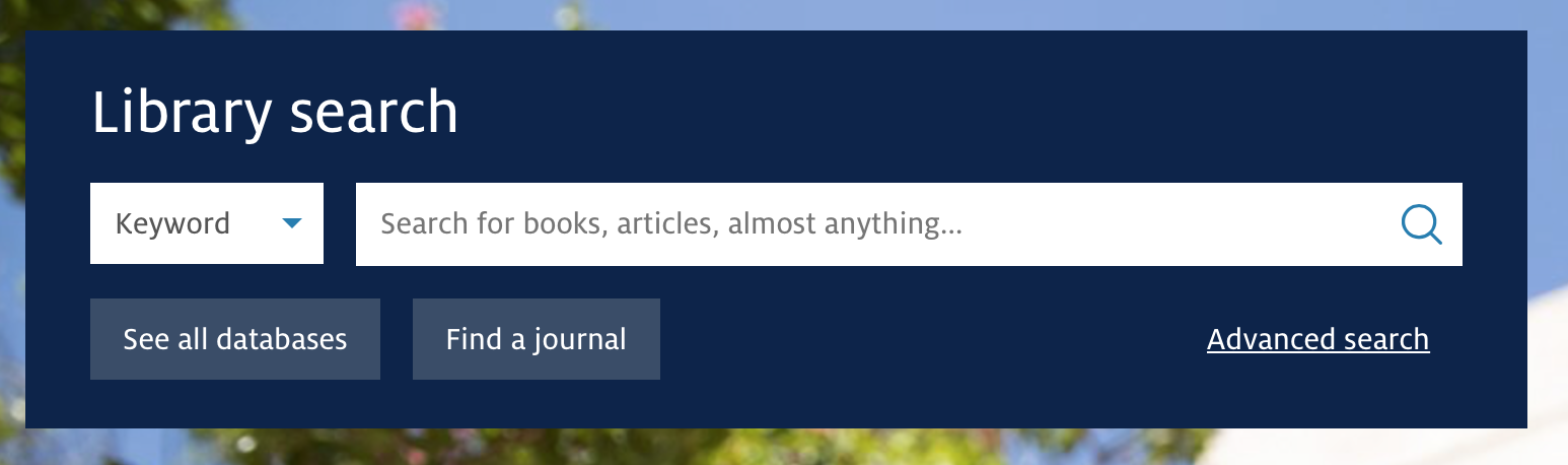 search box with drop-down menu and buttons linking to journal and databases